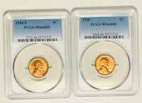 1938 & 1944-S LINCOLN WHEAT CENT PCGS MINT STATE 66 RED FLASHY LUSTER & FULLY STRUCK