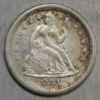 1841-O SEATED LIBERTY DIME, SMALL O, OPEN BUDS, ALMOST UNCIRCULATED DETAIL