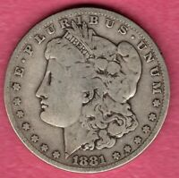 1881 MORGAN SILVER DOLLAR GRADES GOOD PLUS C3767