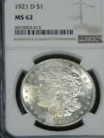 1921 D MORGAN SILVER DOLLAR NGC MINT STATE 62 BLAST WHITE STRONG FROSTY LUSTER PQ MH224