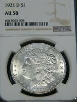1921 D MORGAN SILVER DOLLAR NGC AU58 WHITE  FROSTY LUSTER PQ FOR GRADE MH222