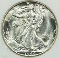 1944-D WALKING LIBERTY HALF DOLLAR NGC MINT STATE 65 FLASHY WHITE COIN FROM A FRESH ROLL