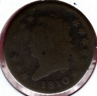 1810 S-285 CLASSIC HEAD LARGE CENT GRADES GOOD REVERSE MINT ERROR C3427