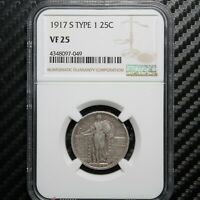 1917 S STANDING LIBERTY QUARTER NGC VF25 - TYPE 1 97049