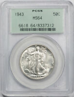 1943 50C WALKING LIBERTY HALF DOLLAR PCGS MINT STATE 64 UNCIRCULATED OGH OLD HOLDER