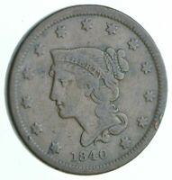 BETTER 1840 BRAIDED HAIR US LARGE CENT PENNY COIN COLLECTION