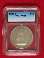 1860 O SEATED LIBERTY SILVER DOLLAR ICG AU-58 ALMOST UNCIRCULATED NEW ORLEANS