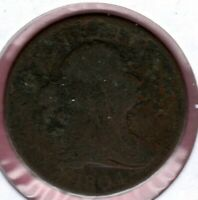 1804 PLAIN 4 WITH STEMS DRAPED BUST HALF CENT CIRCULATED AU1239