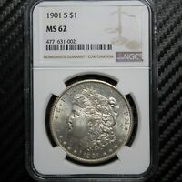1901 S MORGAN SILVER DOLLAR NGC MINT STATE 62 31002