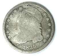 1835 CAPPED BUST SILVER DIME TYPE 2 - SMALL TYPE, REDUCED SIZE