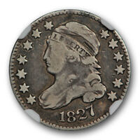 1827 10C CAPPED BUST DIME NGC F 12 FINE ORIGINAL TONED ATTRACTIVE