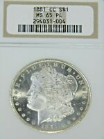 1881 CC MORGAN SILVER DOLLAR NGC MINT STATE 65PL BLAST WHITE PROOF LIKE & CAMEO PQ G752