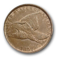 1857 1C FLYING EAGLE CENT ANACS AU 58 ABOUT UNCIRCULATED US TYPE COIN
