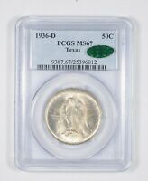 MINT STATE 67 CAC 1936-D TEXAS INDEPENDENCE COMMEMORATIVE HALF DOLLAR GRADED PCGS 8086