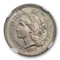 1868 3CN THREE CENT PIECE NICKEL NGC AU 58 ABOUT UNCIRCULATED