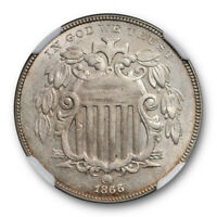 1866 5C WITH RAYS SHIELD NICKEL NGC MINT STATE 61 UNCIRCULATED US TYPE COIN