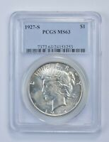 MINT STATE 63 1927-S PEACE SILVER DOLLAR - GRADED PCGS 4863