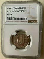 1933 ESTONIA  KROON -10TH SONG FESTIVAL- NGC MINT STATE 64