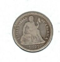 1875 SEATED LIBERTY DIME GRADES GOODBUY IT NOW C823
