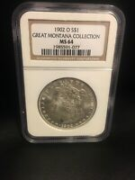 1902 0 MORGAN SILVER DOLLAR GREAT MONTANA COLLECTION NGC MINT STATE 64