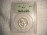 1875 S 20 CENTS PCGS MS60 BLAST WHITE OLD GREEN HOLDER