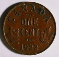 1922 CANADIAN CANADA SMALL CENT TOUGH DATE NICE COIN