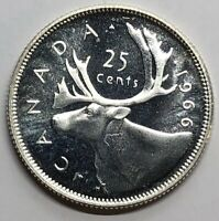 1966 CANADA 25 CENT QUARTER SILVER PROOF COIN  G243