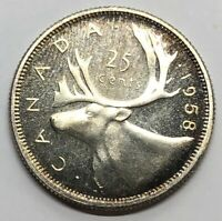 1958 CANADA 25 CENT QUARTER SILVER PROOF COIN  G244