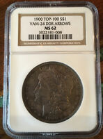 1900 P MORGAN MINT STATE 62 NGC TOP 100 VAM 24 DDR ARROWS  AND TONED.  SHIPS FREE.