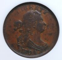 1804 DRAPED BUST HALF CENT PLAIN 4 NO STEMS SMALL WHITE ANACS VF 20 SMOOTH OCHER