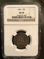 1861 SEATED LIBERTY SILVER QUARTER CIVIL WAR ISSUE NGC AU 50