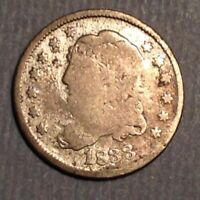 1833 US CAPPED BUST HALF DIME - SILVER 5 CENTS