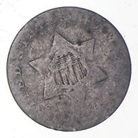 SILVER TRIME WORN DATE THREE CENT SILVER 3 CENT EARLY US COI
