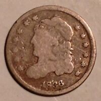 1836 US CAPPED BUST HALF DIME - SILVER 5 CENTS