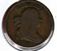 1808 DRAPED BUST HALF CENT GRADES  GOOD MAJOR ROTATED DIE  AU1205