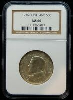 1936 CLEVELAND SILVER HALF DOLLAR COMMEMORATIVE - NGC CERTIFIED MINT STATE 66
