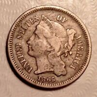 1865 THREE CENTS NICKEL 3C