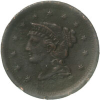 1852 BRAIDED HAIR LARGE CENT FINE DETAILS CORRODED SEE PICS D988