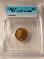 1927 D LINCOLN CENT GRADED & AUTHENTICATED ICG AU55 SLIGHTLY ROTATED REVERSE