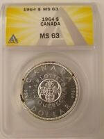 1964 CANADA CHARLOTTETOWN QUEBEC SILVER DOLLAR GRADED BY ANACS MINT STATE 63 YOUNG HEAD