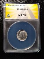 1964-D 10C ROOSEVELT SILVER DIME COIN ANACS MINT STATE 65 GRADE AUTHENTICATED  LUSTER