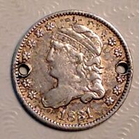 1831 US CAPPED BUST HALF DIME - SILVER 5 CENTS HOLED