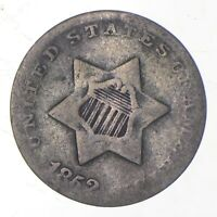 SILVER TRIME 1852 THREE CENT SILVER 3 CENT EARLY US COIN LOO