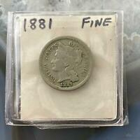 1881 US 3C NICKEL THREE CENT PIECE COLLECTIBLE COIN FINE