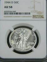 1944-D WALKING LIBERTY HALF DOLLAR NGC AU58 BLAST WHITE GREAT LUSTER PQ MH282