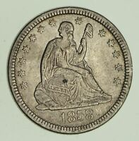 1858 SEATED LIBERTY SILVER QUARTER   VARIETY 1   CIRCULATED