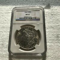 1887-S MORGAN SILVER DOLLAR MINT STATE 61 NGC