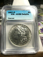 1897 O MORGAN SILVER DOLLAR, ICG AU58 DETAILS, BETTER DATE, PCGS PRICE $360