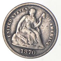 5C   1/2 DIME HALF   1870 SEATED LIBERTY HALF DIME EARLY AME
