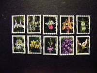 US SC 5445 54 WILD ORCHIDS SET OF 10 FROM 2020. USED OFF PAP